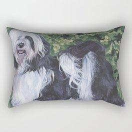 Tibetan Terrier dog art from an original painting by L.A.Shepard Rectangular Pillow