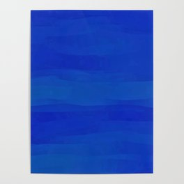 Subtle Cobalt Blue Waves Pattern Ombre Gradient Poster