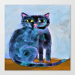 Shiny Black Cat Abstract Digital Painting Canvas Print