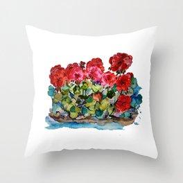 Red Geraniums painting Throw Pillow