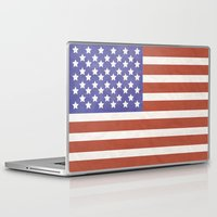 american flag Laptop & iPad Skins featuring American Flag by Katie Zimpel