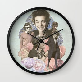 Harry Styles + Flowers Wall Clock
