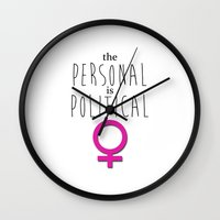 patriarchy Wall Clocks featuring Personal Is Political by tjseesxe