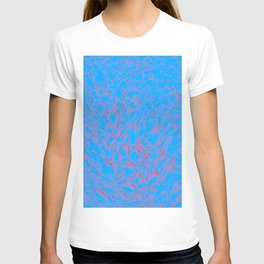 eruption, red on blue T-shirt