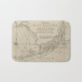 Vintage Map of The Florida Keys (1771) Bath Mat