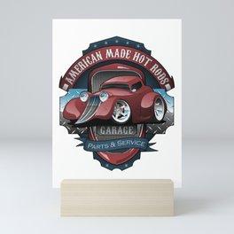 American Hot Rods Garage Vintage Car Sign Cartoon Mini Art Print