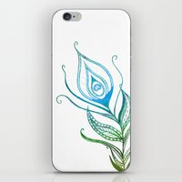 peacock feather iPhone & iPod Skins featuring Peacock Feather by Jozi