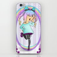 pastel goth iPhone & iPod Skins featuring Girl Pastel Goth by Fanuna