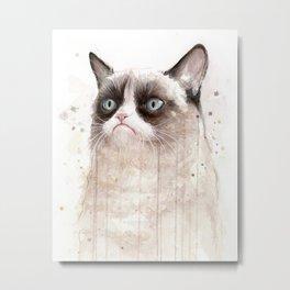 Grumpy Watercolor Cat Geek Meme Whimsical Animals Metal Print