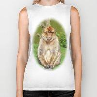 ape Biker Tanks featuring Barbary ape by Pirmin Nohr