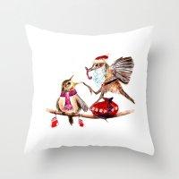 santa Throw Pillows featuring Santa by Anna Shell