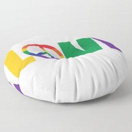 Pride Love is Love Rainbow Peace Sign LGBT Floor Pillow