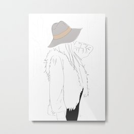 Gray Fall Fashion Hat Vest Girl 2 Metal Print