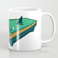 pool Mugs featuring Pool shark by Jonah Makes Artstuff
