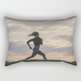 Running woman morning workout. Female Runner. Jogging during sunrise. Workout in a Park. Sporty Rectangular Pillow