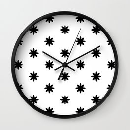Black flowers Wall Clock