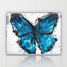 Blue butterfly ink splatter Laptop & iPad Skin