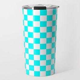 Small Checkered - White and Aqua Cyan Travel Mug