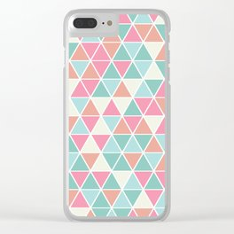 Triangulation (pink and green) Clear iPhone Case