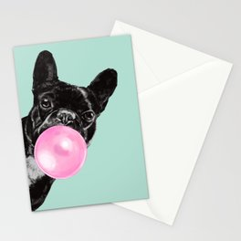 Bubble Gum Sneaky French Bulldog in Green Stationery Cards