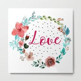 Pretty love floral wreath Metal Print