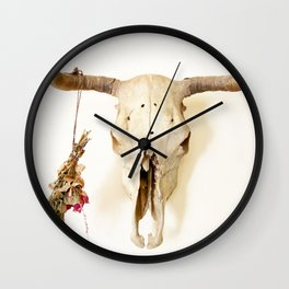 Flower and Skull Print and Collection  Wall Clock