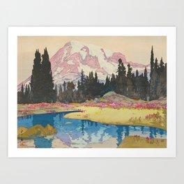 Mount Rainier Vintage Beautiful Japanese Woodblock Print Hiroshi Yoshida Art Print
