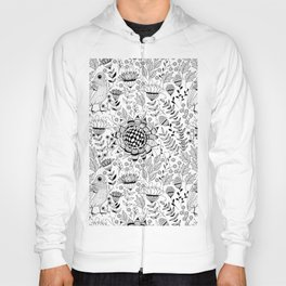 Bird and flowers doodle pattern Hoody