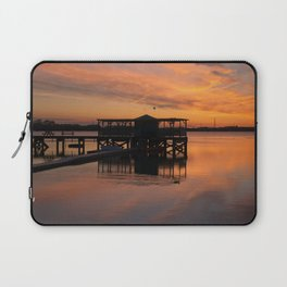 Orange Glow Sunset Over Chasewater Laptop Sleeve