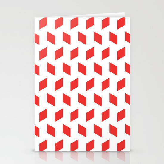 rhombus bomb in poppy red Stationery Cards
