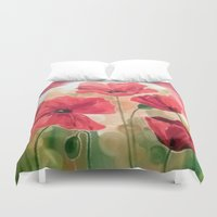 poppies Duvet Covers featuring Poppies by OLHADARCHUK