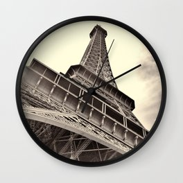 The famous Eiffel Tower in Paris, France in sepia. Vintage photography Wall Clock