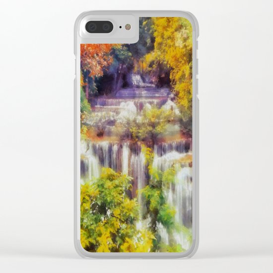 Autumn landscape with waterfall Clear iPhone Case
