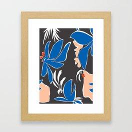 Sketchy Florals - Cobalt Framed Art Print