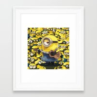 minions Framed Art Prints featuring MINIONS by DisPrints