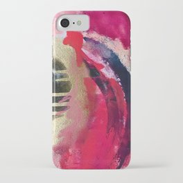 Between Heartbeats [1]: a vibrant abstract piece in pink gold black and white by Alyssa Hamilton Art iPhone Case