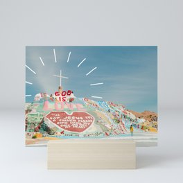 God is Love at Salvation Mountain Mini Art Print