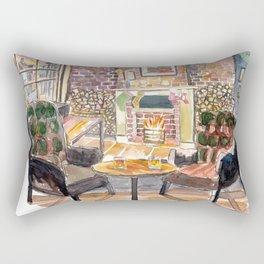 English Countryside Pub Fireside and Streetscene Rectangular Pillow