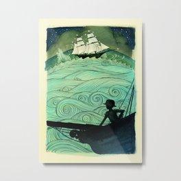 Sailing The Stormy Night Seas (rough edges) Metal Print