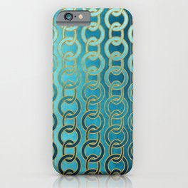 Ocean Blue Watercolor Gold Chain Links iPhone Case