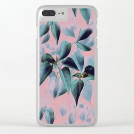 Tropical Foliage on Pink Clear iPhone Case