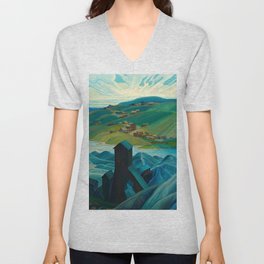 Canadian Landscape Franklin Carmichael Art Nouveau Post-Impressionism A Northern Silver Mine, 1930 Unisex V-Neck