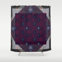 Lotus flower patchwork - woodblock print style pattern Shower Curtain