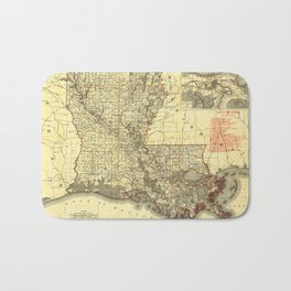 Map of Louisiana (1895) Bath Mat