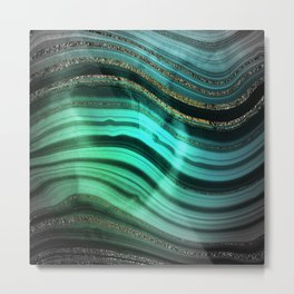 Gold Indigo Malachite Marble Waves Metal Print