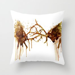 Elks Fight Throw Pillow