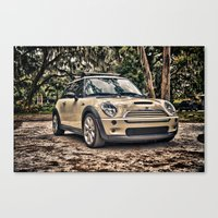 mini cooper Canvas Prints featuring Mini Cooper by Naked Jimmy