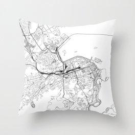 Rio De Janeiro White Map Throw Pillow