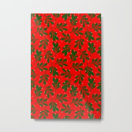 mistletoe on red Metal Print