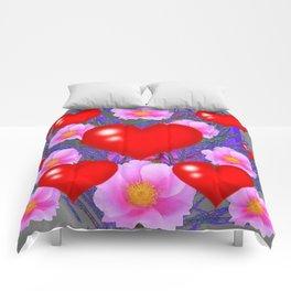 Red Hearts & Pink Wild Rose Valentine Purple Art Comforters